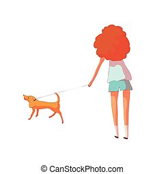 Red-haired woman in shorts and a t-shirt dredit a dog on a leash. Vector illustration on white background.