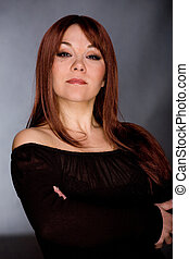 red haired woman - portrait of attractive red haired woman