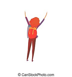 Red-haired woman with a backpack. Vector illustration on white background.