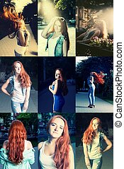 Red haired women posing outdoors set
