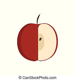 Red half apple icon in flat design
