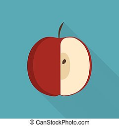 Red half apple icon in flat long shadow design