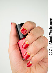 red half moon nail art manicure
