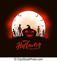 Red Halloween Background with Pumpkin and Zombies