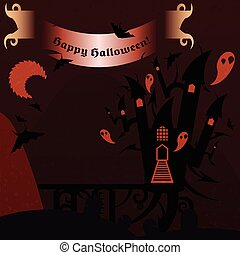 Red halloween castle with a text banner