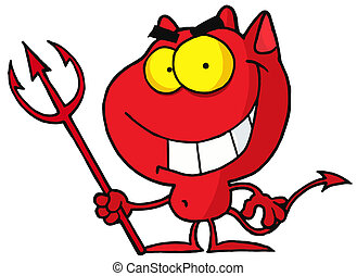 Red Halloween Devil With A Trident - Cartoon character...