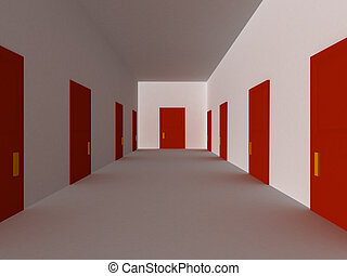Red hallway - 3D render of hallway with red doors.