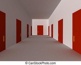 Red hallway - 3D render of hallway with red doors.