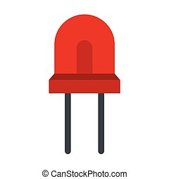 Red halogen lamp icon, flat style - Red halogen lamp icon in...