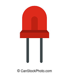 Red halogen lamp icon, flat style