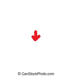 red hand drawn cartoon arrow down. flat icon. Download sign.