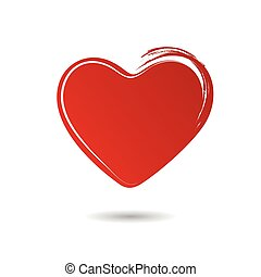 Red hand drawn heart isolated on white background
