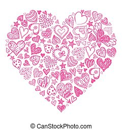 Red hand drawn heart