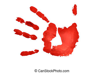 hand imprint - red  hand imprint over white background