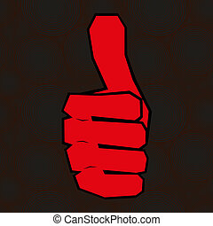 Red hand with thumb up