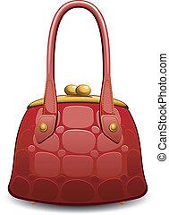 Red handbag over white. EPS 8, AI, JPEG