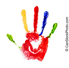 red handprint with colored fingers on an isolated white backgrou