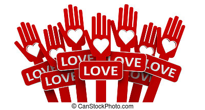 Red hands with love
