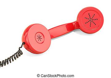 Red handset, telephone receiver. 3D rendering