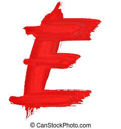 Red handwritten letters - E - Red handwritten letters over...