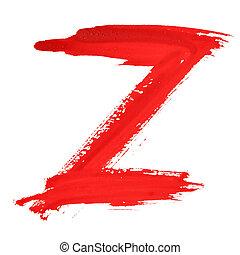 Red handwritten letters - Z - Red handwritten letters over...