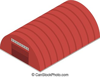 Red hangar icon, isometric style