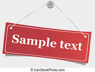 Red, hanging label, vector