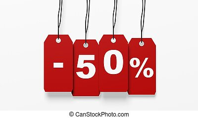 Red hanging sales tags with fifty percent discount isolated on white background