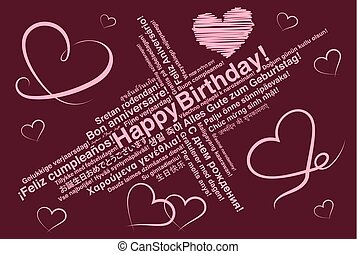 Happy Birthday in different languages wordcloud greeting card with heart shapes