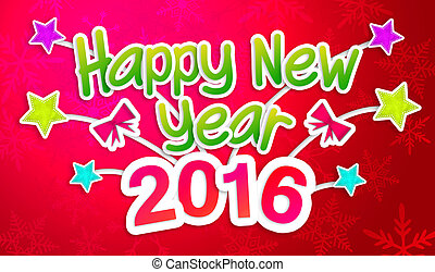 Red Happy New Year 2016 Greeting