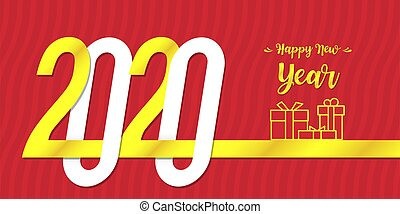 Red Happy New Year 2020 Card