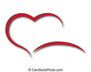 Red hart on a white background.