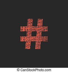 red hashtag icon in sketch hand drawn style. concept of number sign and social media. isolated on black background. trendy modern vector illustration