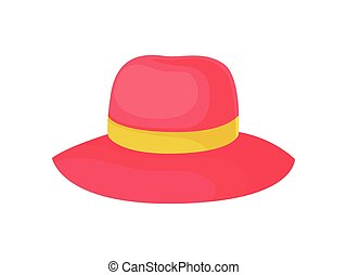 Red hat for women. Vector illustration on white background.