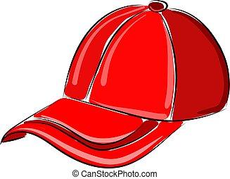 Red hat, illustration, vector on white background.