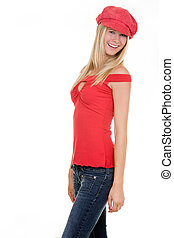 Red hat - beautiful blond hair blue eyes woman wearing red...