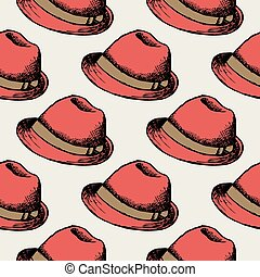 Red hat retro seamless background
