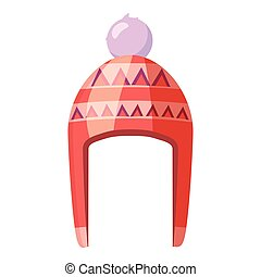 Red hat with pompom icon, cartoon style