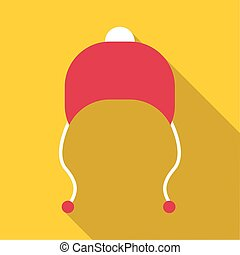 Red hat with pompom icon, flat style