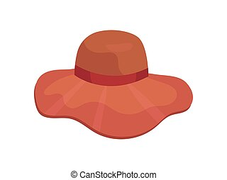 Red hat with wide brim for women. Vector illustration on white background.