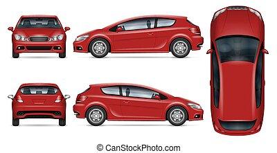 Red hatchback vector mockup