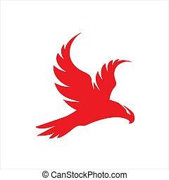 red hawk falcon eagle vector Logo design icon illustration Template