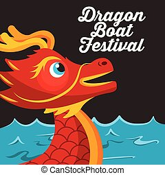 red head dragon boat festival sea and dark background