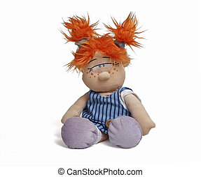red head funny doll - Isolated funny doll sitting at white...