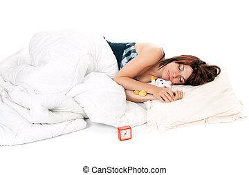 red head woman sleeping