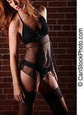 Red Head Woman Wearing Lingerie in Seductive Poses