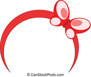 Red headband butterfly vector illustration