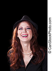 Red Headed Caucasian Woman Big Smile Hat