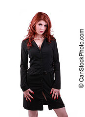 Red Headed Woman in black business outfit