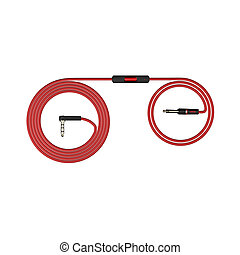 Red headphones cable isolated on white background 3d illustration render